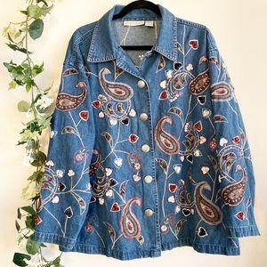 Vintage Dressbarn Embroidered Button-Up Denim Top